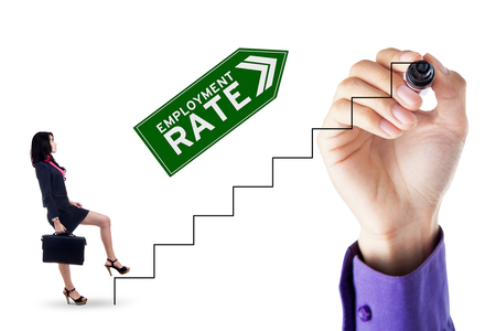 unemployment rate: Asian businesswoman walking on the stairs with upward arrow and employment rate text
