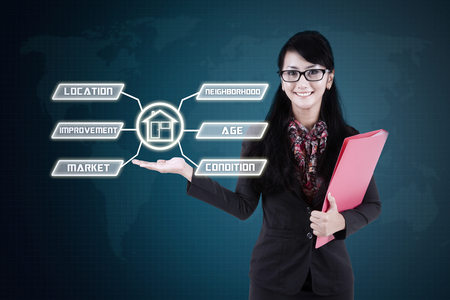 Young businesswoman holding a folder and the information icons of property value factor