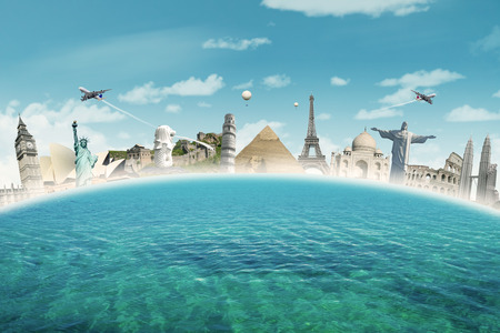 Image of famous landmarks of the world put together on the sea. Concept of travelling to around the world Stock Photo