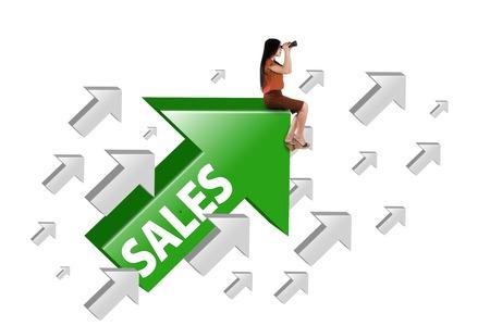Female entrepreneur looking through binocular while sitting on the green upward arrow with sales word