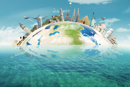 Image of famous monuments of the world put together on the Earth planet. Concept of travelling to around the world
