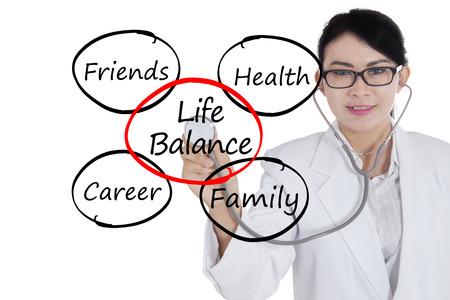 Image d'une femme médecin avec stéthoscope et l'équilibre de la vie de texte sur l'écran virtuel Banque d'images - 62606371