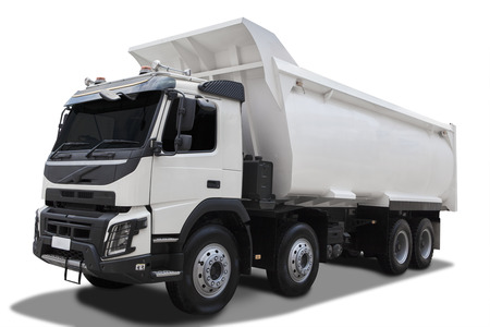 Image of a big dump truck with white color, isolated on white background
