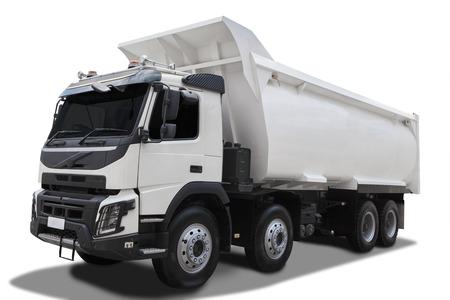 화이트 색상에 큰 덤프 트럭의 이미지, 흰색 배경에 고립