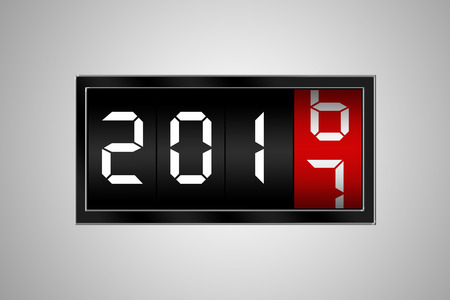 countdown: 2017 countdown timer isolated on bokeh background.