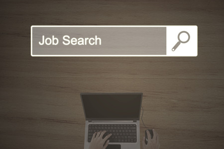 hand job: Concept of Job Search with browser page and businessman hand working on the laptop