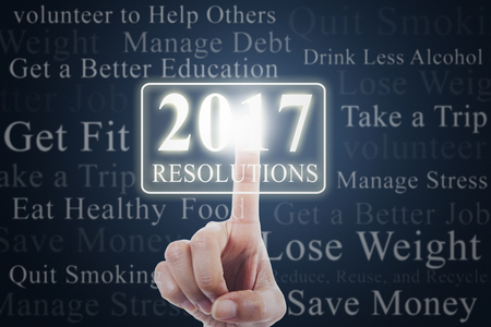 get help: Image of hand pressing a virtual button with numbers 2017 and new year resolutions