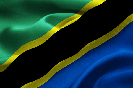 Image of the national flag of Tanzania blowing in the wind