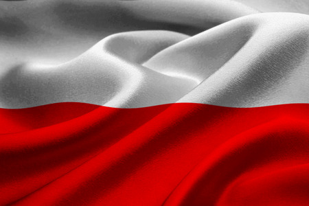 patriotism: Close up of Poland flag waving in the wind