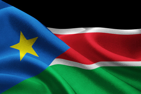 Image of national flag of South Sudan waving in the wind Stock Photo