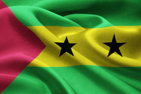 principe: Marco completo de la bandera de Santo Tomé y Príncipe en el viento