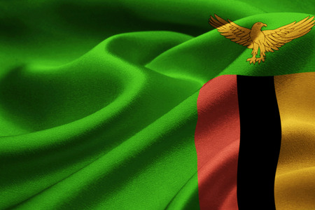 zambia: Image of Zambia flag blowing in the wind