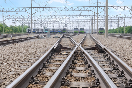 mainline: Portrait of two railways with switch track for electric train