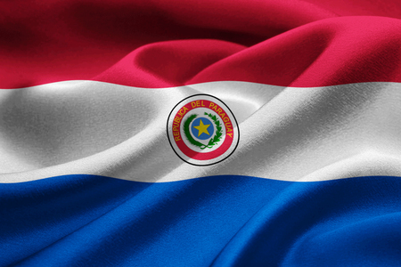bandera de paraguay: Paraguay flag blowing in the wind
