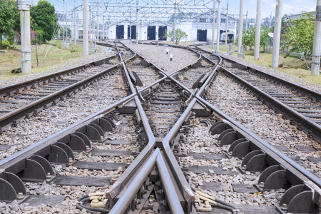 mainline: Image of railroad with switching track for going to the station Stock Photo
