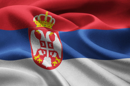 serbia flag: Close up of Serbia flag blowing in the wind