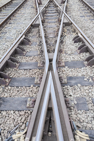 mainline: Close up of railway tracks and with switcher Stock Photo
