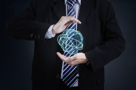 hand holding globe: Close up to businessman standing and holding digital globe with connection lines 3d rendering
