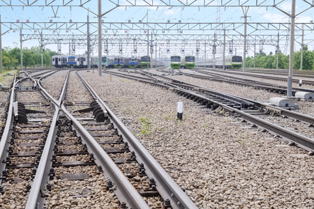 switcher: Image of railway with switcher track for electric trains