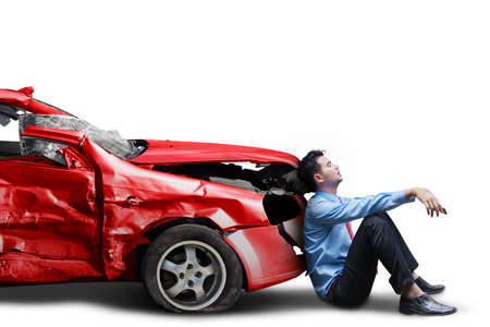 car isolated: Picture of frustrated businessman with broken car after traffic accident, isolated on white background