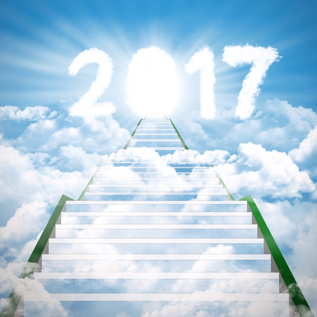 sky sun: Image of stair to cloud shaped numbers 2017 in the blue sky Stock Photo