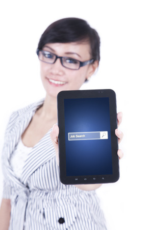 seeker: Image of pretty female entrepreneur showing a smartphone with job search bar on the screen