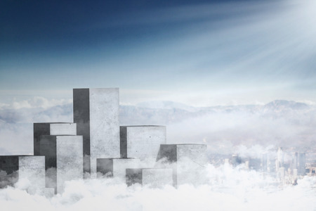 sunlight sky: Image of high concrete columns on the sky with bright sunlight, symbolizing business opportunity