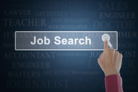 hand job: Concept of job search with businessman hand touching a job search button on the virtual screen