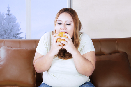 gordo: Overweight woman eating a delicious hamburger while sitting on the couch near the window