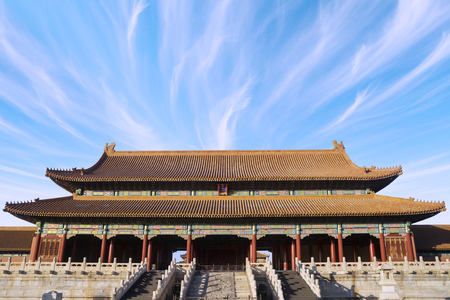 Image of Forbidden City with clear sky above the imperial palace in Beijing, China Editorial