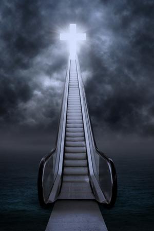 Escalator to the cross under bad weather Stock Photo