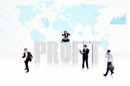 Business people surround the word PROFIT on world map background photo