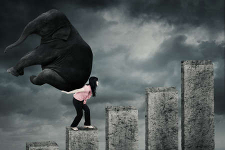 carga: Trabajador de sexo femenino que sube una carta financiera mientras que traer un elefante en la espalda