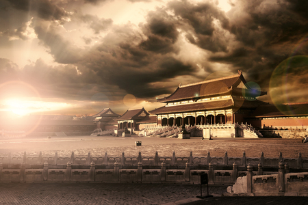 chinese courtyard: Image of historical royal palace with twilight sky in Forbidden City at Beijing, China