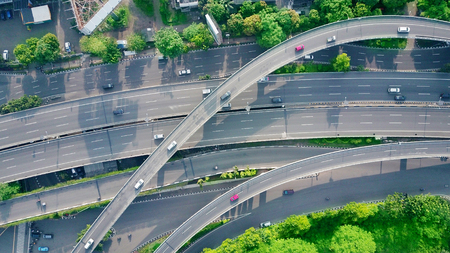 Bird view of flyover in the city of Jakarta, Indonesia. 版權商用圖片