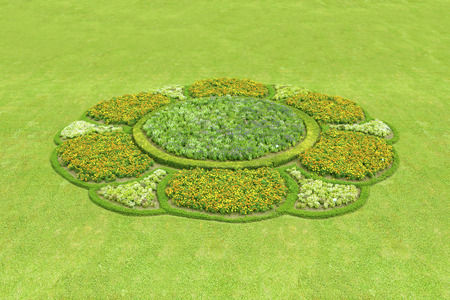 Picture of a beautiful garden with many flowers shaped a petal