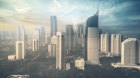 JAKARTA, Indonesia. May 19, 2017: Aerial view of Jakarta skyline with skyscrapers at sunset time Editorial