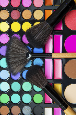 fashion: Close up make up brushes and professional make up palette