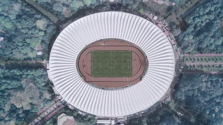 JAKARTA, Indonesia. May 30, 2017: top view of football stadium in downtown Jakarta Редакционное