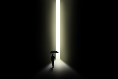 Illustration of a business woman walking into a bright side