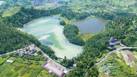 Beautiful aerial view of Color Lake in Dieng plateau, Central Java, Indonesia