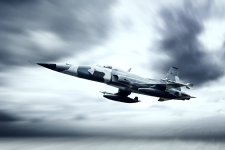 Picture of awesome jet fighter flying in the storm cloud with blur motion