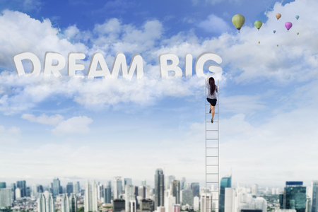 Back view of young businesswoman climbing a ladder while taking a text of dream big on the sky photo