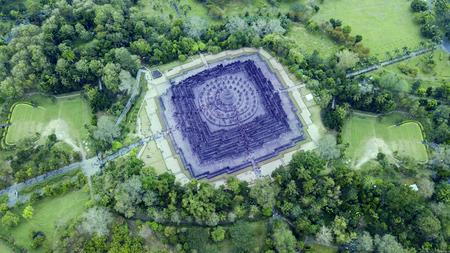 고 대 사원 보로부두르의 놀라운 상위 뷰 스톡 콘텐츠