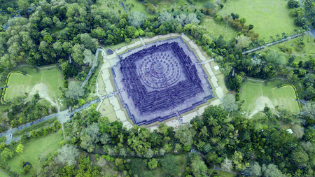Amazing top view of ancient temple of  Borobudur