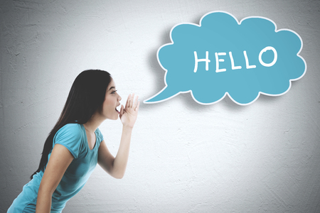 word of mouth: Picture of Asian woman whispering word of hello on the bubble cloud