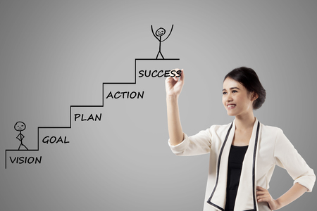 Image of pretty businesswoman is drawing a ladder with a strategy plan to success Stockfoto