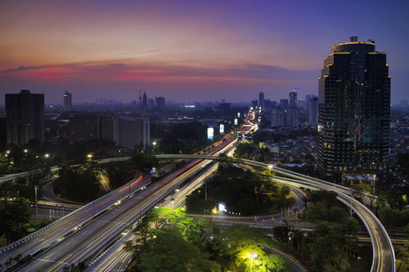 Bird view of skyscraper with Semanggi road intersection. shot at sunrise time