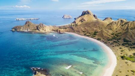 Aerial view of beautiful beach with turquoise water in the Padar Island, East Nusa Tenggara, Indonesia