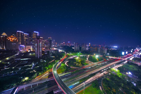 Bird view of the beautiful Semanggi road intersection in the central business, shot at night time